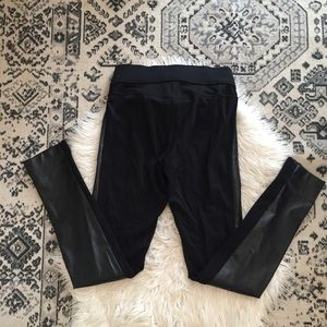 Club Monaco Leather Panel Pants Skinny Black 6